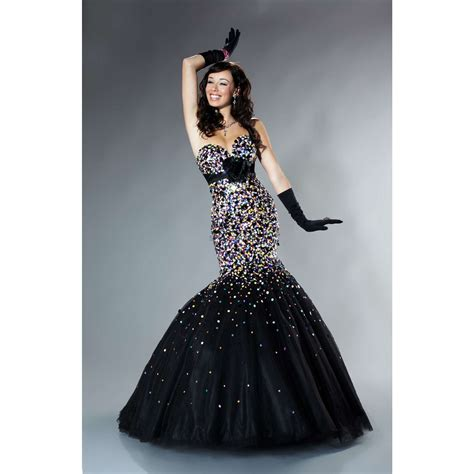 Mermaid sweetheart sequins flower black tulle long prom dress photo