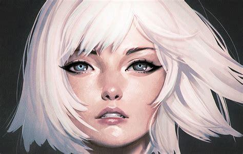 wallpaper face haircut blue eyes white hair bangs portrait   girl ilya