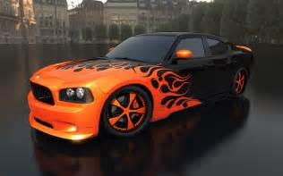 hell yea black dodge charger orange tribal flames sweet