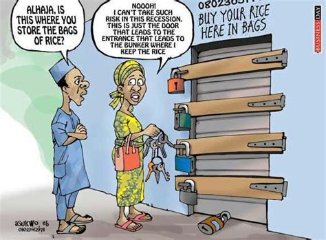 recession woman locks her rice warehouse with many