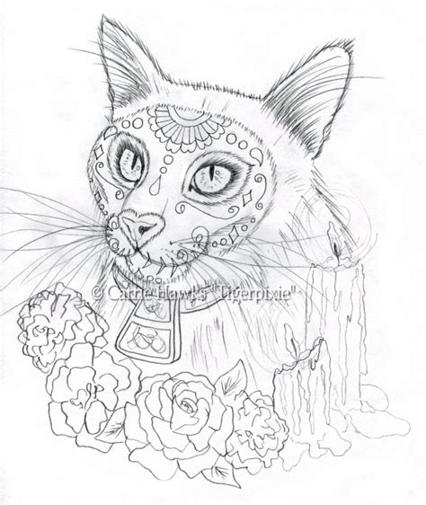 day of the dead cat coloring pages cat art journal by carrie quot tigerpixie quot hawks wip new day