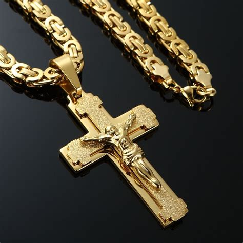 pendant l with chain mens stainless steel cross necklace chain 18k gold filled