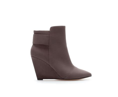 ankle boots zara wedge ankle boot in gray grey lyst