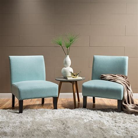 amazoncom kendal light blue fabric accent chair set   kitchen dining