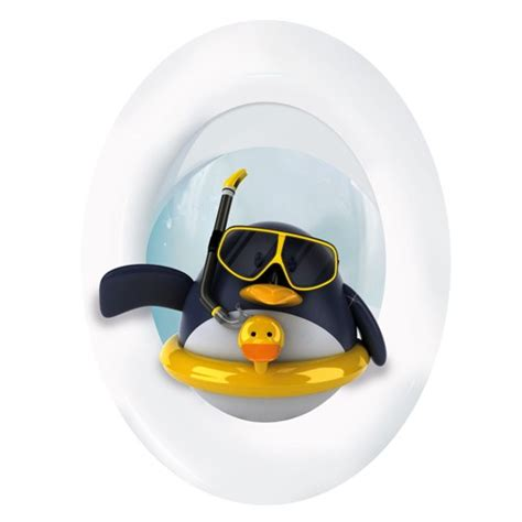 fliesenaufkleber toilette wc aufkleber pinguin mit rettungsring
