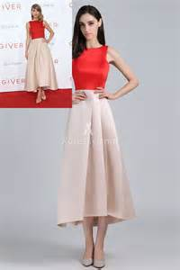 taylor swift red and champagne tea length prom dress the