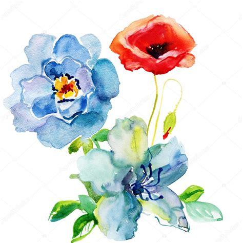 fiori ad acquerello fiori dipinti ad acquerello foto stock 169 olies 79046514