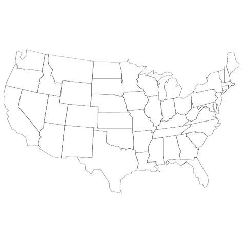 usa map outline with states blank map united states vector