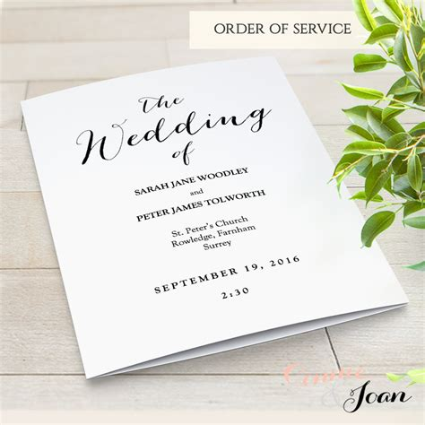 free order of service wedding template folded wedding program template modern sweet bomb edit