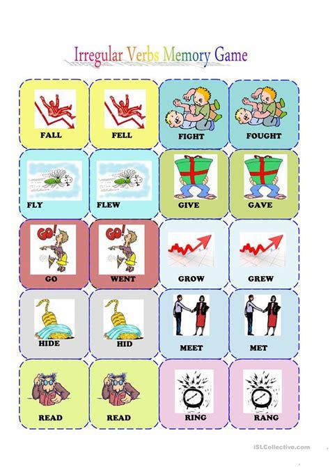 printable games irregular verbs irrgular verbs memory card game 2 3 worksheet free esl