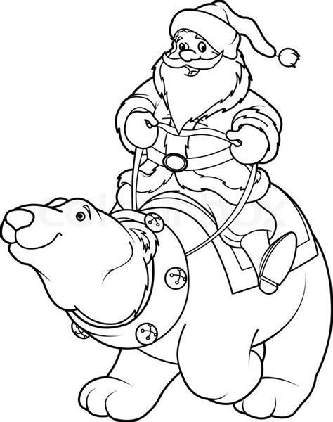 santa bear coloring page weihnachtsmann reitet auf eisb 228 r ausmalbilder stock