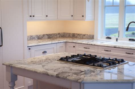 Vermont Kitchen Cabinets super white quartzite countertops traditional kitchen