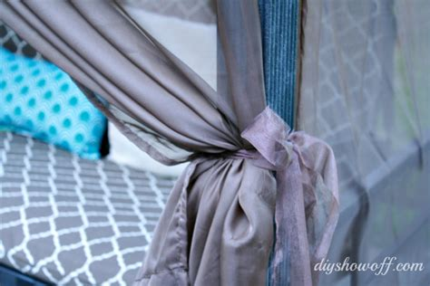 how to make curtain tie backs with ribbon patio swing makeoverdiy show off diy decorating and