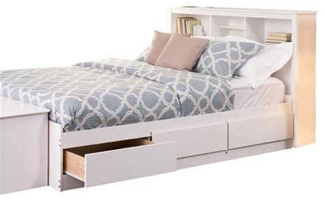 prepac monterey white bookcase platform storage bed transitional platform beds by cymax