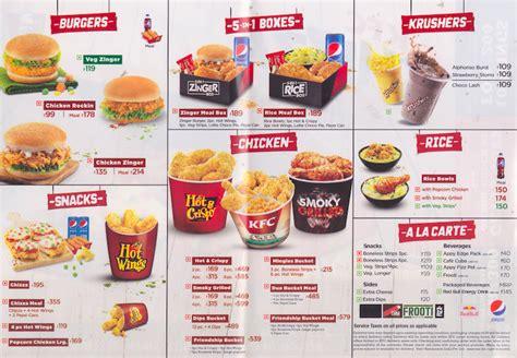 kfc buffet menu kfc menu menu for kfc indiranagar bangalore zomato