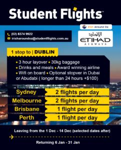 new july cheap flights to ireland with student flights