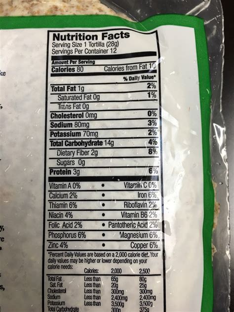 1 whole grain tortilla calories food for sprouted grain tortillas calories