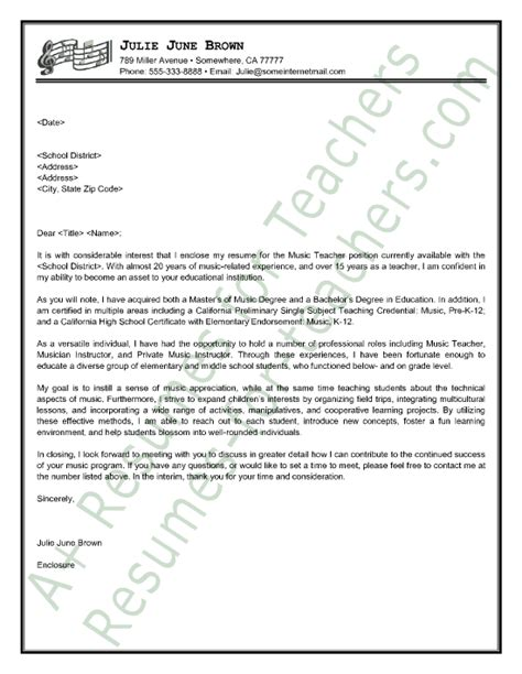Introduction Letter Musician cover letter sle cover letter sle letter sle and teachers