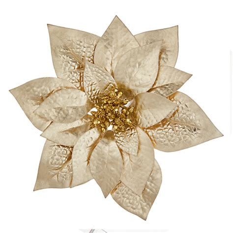 hessian gold poinsettia picks buy lewis winter palace poinsettia clip on tree decoration gold lewis