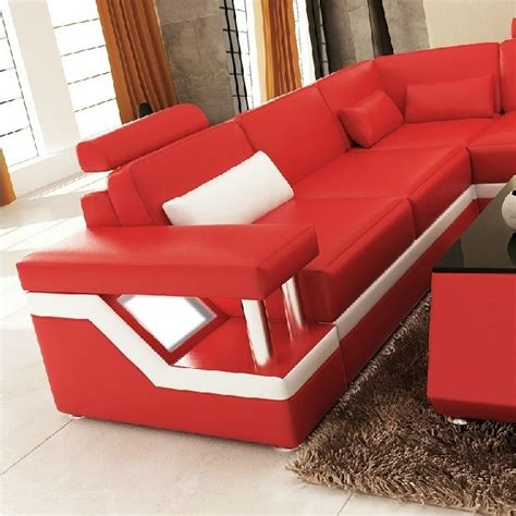 red and white sectional divani casa 6139 modern red and white leather sectional sofa