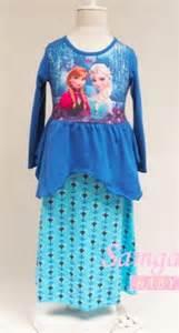 Bt1281 Gamis Frozen Blue jual gamis frozen import shop