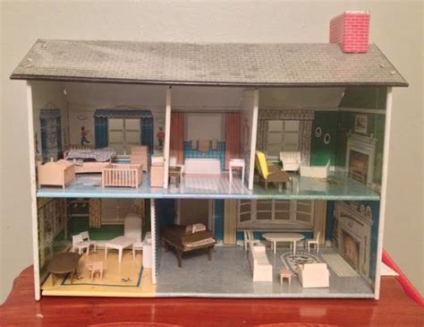 tin doll houses 1950 s vintage marx litho tin metal dollhouse with furniture