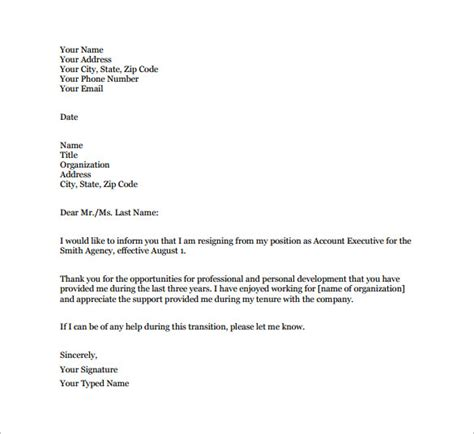 Resignation Letter Free Template by 16 Professional Resignation Letter Templates Free