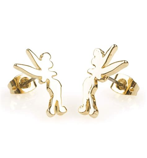 Disney Couture Tinker Bell Bamboo Earrings by 14kt Gold Plated The Beast Chip Teacup Charm