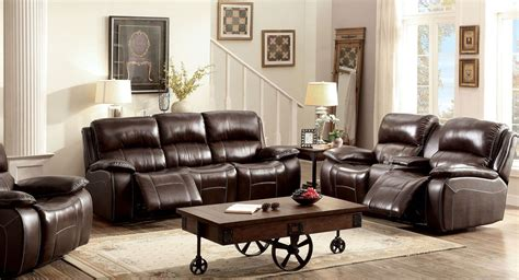 reclining living room furniture sets ruth brown leather reclining living room set from