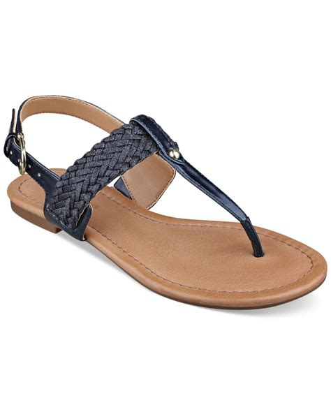 hilfiger flat shoes lyst hilfiger s saycn flat sandals in blue