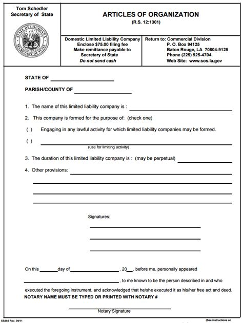 Articles Of Organization Template Ultramodern Print Louisiana Llc Limited Liability Company Form Articles Of Organization Llc Template