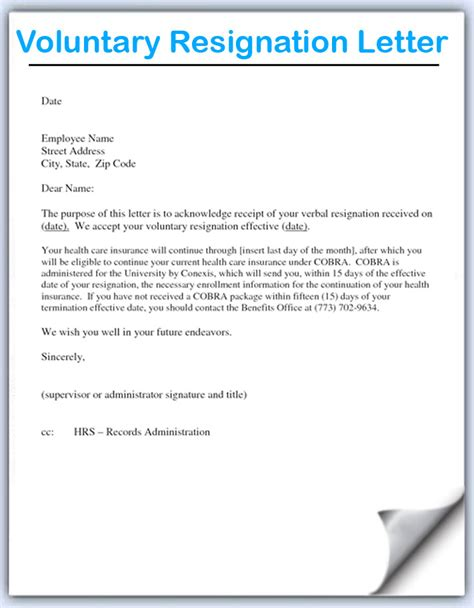 resignation letter format best voluntary resignation