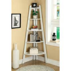 merill 5 tier ladder corner shelf white bookcases at