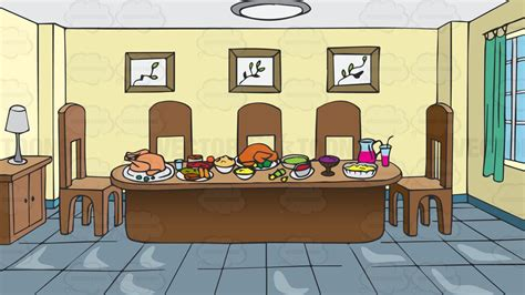 romm colour a dining room table full of food background cartoon
