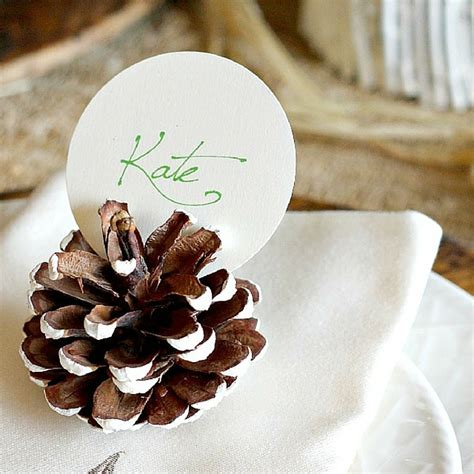 6 pc pine cone place card holder set quick and easy pinecone crafts for the holidays favecrafts