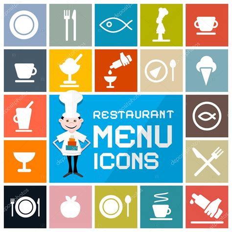 restaurant layout icons colorful flat design vector restaurant menu icons set