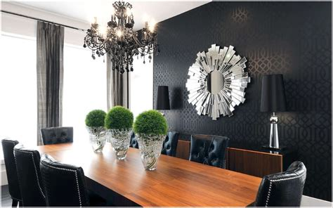 Wood Accent Wall In Dining Room Fancy Mirrors For Modern Dining Room With Black Accent