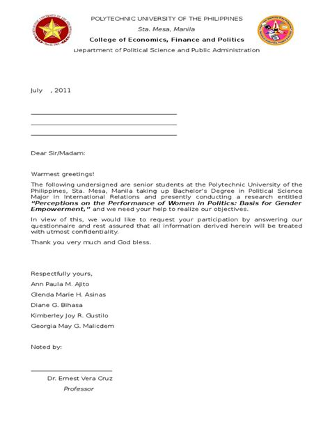 Permission Letter Survey Sle Request Letter To Dean Harlechnnorfolk February 2011how To Write Cover Letters Pomona