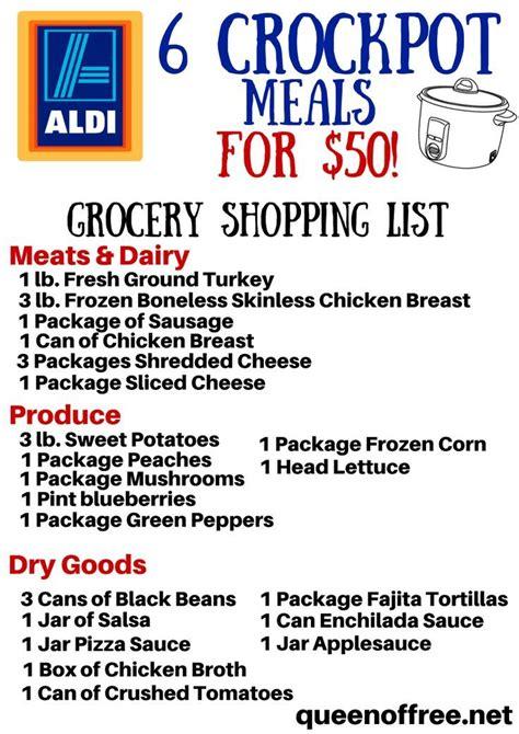 aldi printable shopping list crockpot aldi grocery list 6 meals for 50 aldi