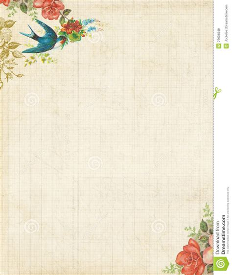 Printable Vintage Bird And Roses Stationary Or Background Apps Pinterest Stationary Paper Free Letter Background Template