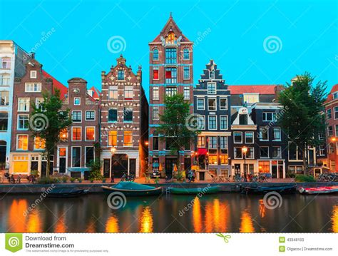 night city view  amsterdam canals  typical ho stock