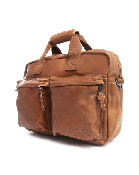 Day Bag by Eastpak Tomec Camel Leather Day Bag In Brown For