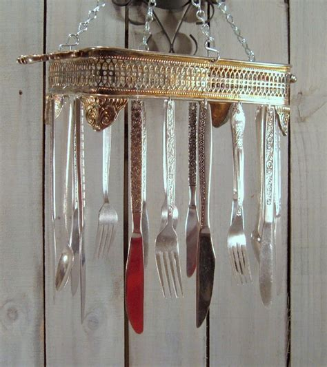 Handmade Wind Chimes - silverware sun catcher wind chime handmade from vintage