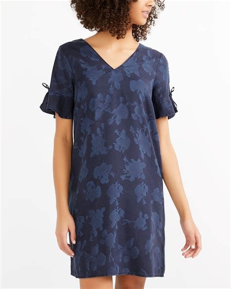 Printed Sleeve Shift Dress ruffle sleeve printed shift dress reitmans