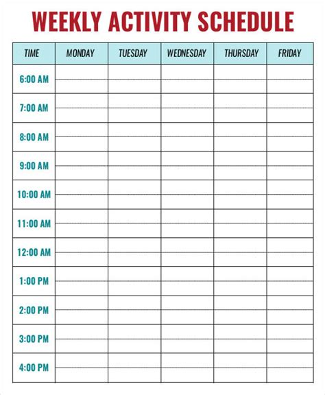 weekly activity planner template weekly activity schedule templates 6 free sle