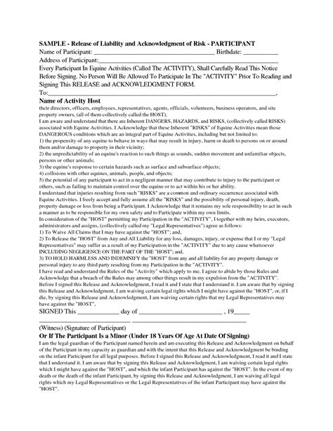 release of liability template doc 575709 release of liability form waiver of liability