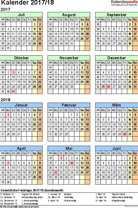 Kalender 2018 Bayern Halbjahr Halbjahreskalender 2017 2018 Als Pdf Vorlagen Zum Ausdrucken