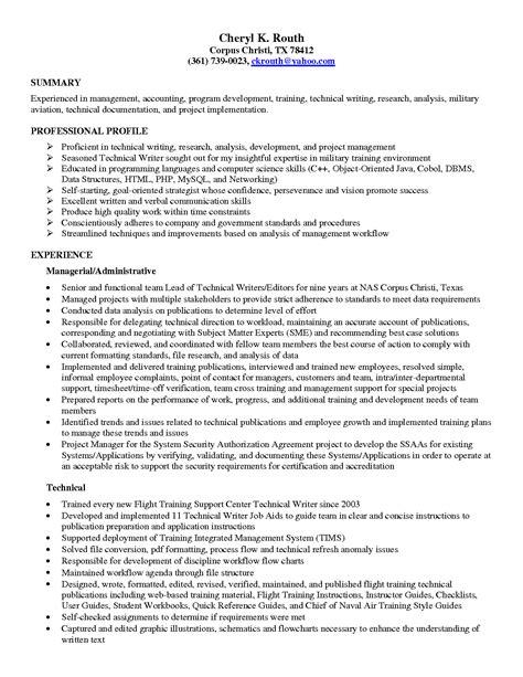 Skill resume: Free Sample Junior Technical Writer Resume