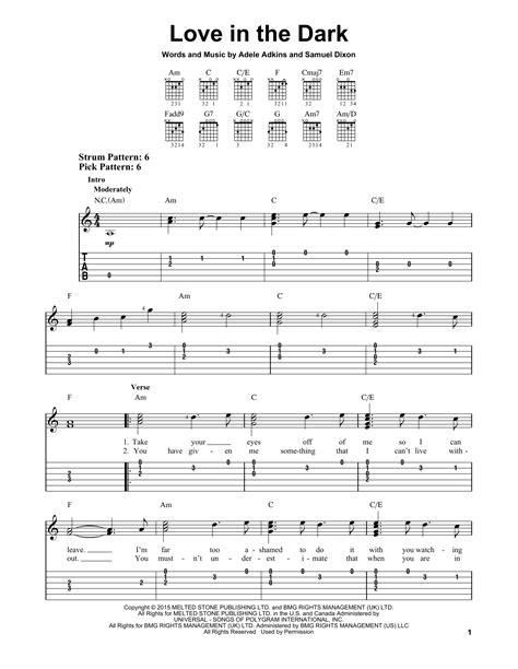 adele love in the dark love in the dark sheet music by adele easy guitar tab