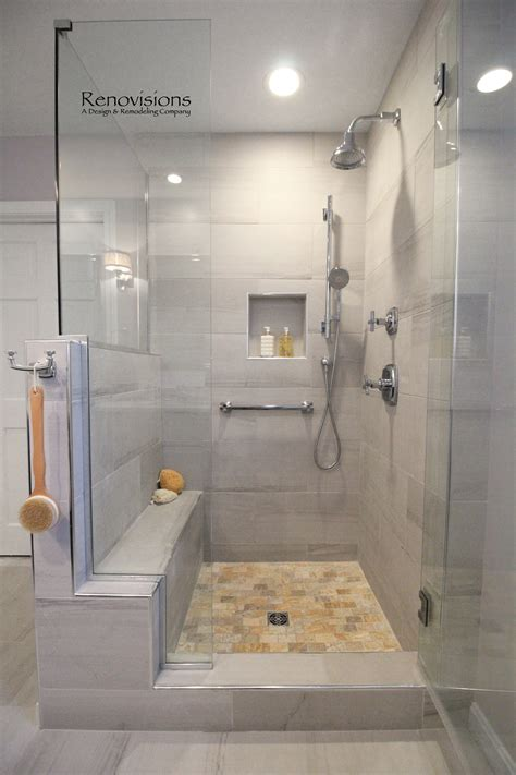 Glass Shower With Seat A Completed Master Bathroom Remodel By Renovisions Walk